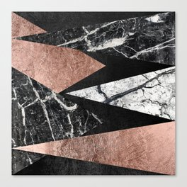 Elegant Modern Marble, Rose Gold, & Black Foil Triangles Canvas Print