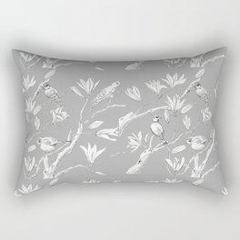 Magnolia flower and birds ink-pen drawing Rectangular Pillow