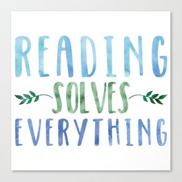 Reading Solves Everything (Green/Blue) Canvas Print