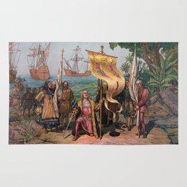 Columbus Landing in America Painting (1892) Rug