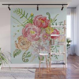 Bouquet of Spring Flowers Light Aqua Wall Mural