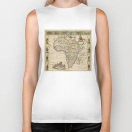 Vintage Map of Africa (1660)  Biker Tank