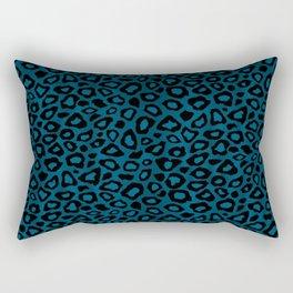 Teal Leopard Animal Pattern Rectangular Pillow