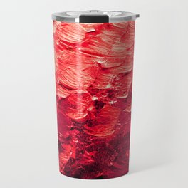 MERMAID SCALES 4 Red Vibrant Ocean Waves Splash Crimson Strawberry Summer Ombre Abstract Painting Travel Mug