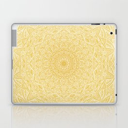 Most Detailed Mandala! Yellow Golden Color Intricate Detail Ethnic Mandalas Zentangle Maze Pattern Laptop & iPad Skin