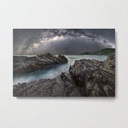 Milky Way Over the Ocean Metal Print