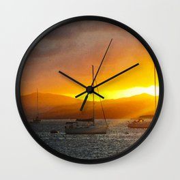 Norman Island Sunset - Sailboats at Sunset Wall Clock