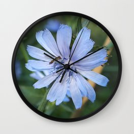 Little blue flower and bee Wall Clock