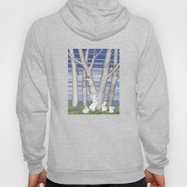 nuthatches, bunnies, and birches Hoody