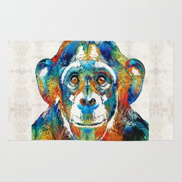 Colorful Chimp Art - Monkey Business - By Sharon Cummings Rug