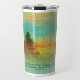 Serenity Prayer Colorful Trees Travel Mug