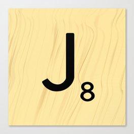 Scrabble J Decor, Scrabble Art, Large Scrabble Tile Initials Canvas Print