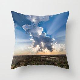 Explosion - Sunbeams Burst From Behind Storm Cloud in Kansas Throw Pillow