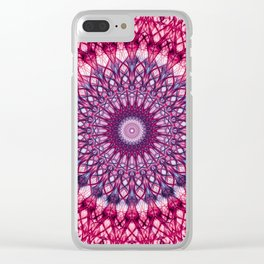 Pink and violet mandala Clear iPhone Case
