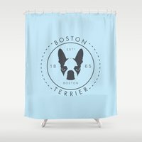 terrier Shower Curtains featuring Boston Terrier by Lulo The Boston Terrier