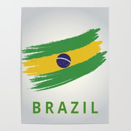 Abstract Brazil Flag Design Poster