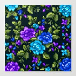 Pixel Floral - Blue on Black Canvas Print