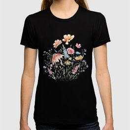 wild flower bouquet and blue bird- ink and watercolor 2 T-shirt