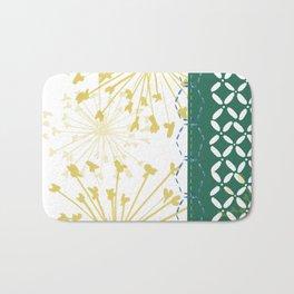 Boho dandelion green and yellow Bath Mat