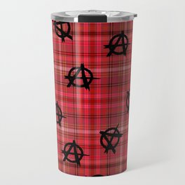 red plaid anarchy Travel Mug