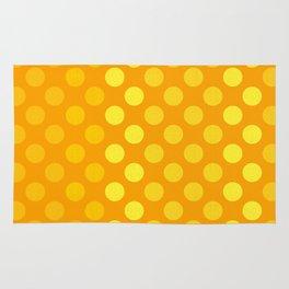 """Yellow & Ocher Burlap Texture & Polka Dots"" Rug"