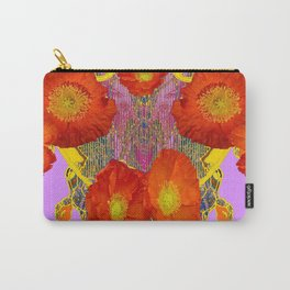 Modern Art  Orange Poppy Flowers & Lilac Color Grey Art Carry-All Pouch