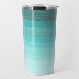 Blue brush abstract art stripes Travel Mug