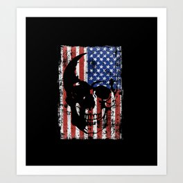 Grunge Skull On American Flag Art Print