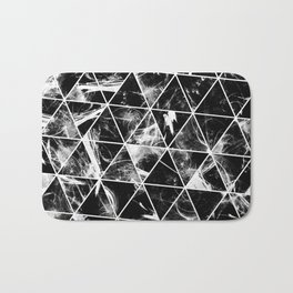 Geometric Whispers - Abstract, black and white triangular, geometric pattern Bath Mat