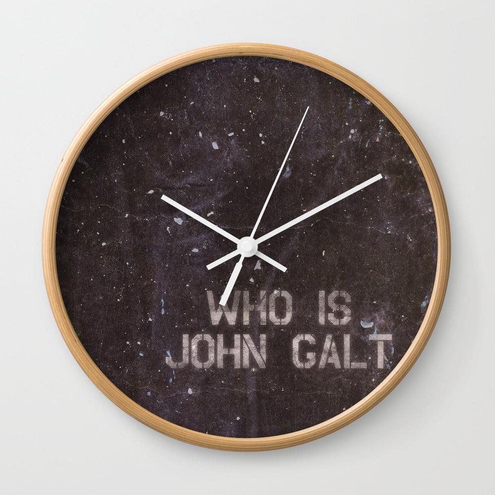 Atlas Shrugged / Who Is John Galt Wall Clock by Intellectualammunitiondepartment CLK1601365