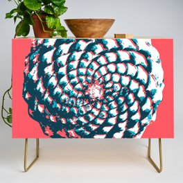 pine cone pattern in coral, aqua and indigo Credenza