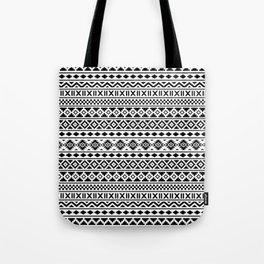 Aztec Essence Pattern Black on White Tote Bag