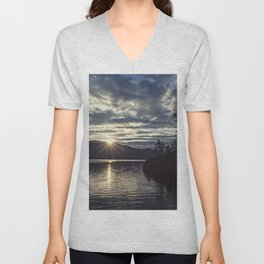 idaho lake sunset Unisex V-Neck