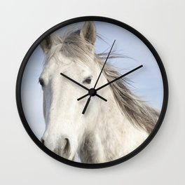 Whit Horse in Color Wall Clock