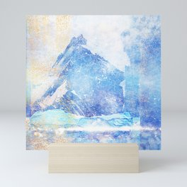 Blue Ice Mountains :: Fine Art Collage Mini Art Print
