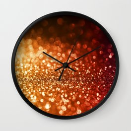 Fire and flames - Red and yellow glitter effect texture Wall Clock