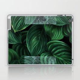 tropical green pattern on black Laptop & iPad Skin