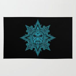 Ancient Blue and Black Aztec Sun Mask Rug
