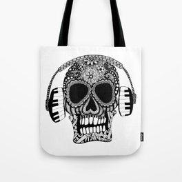 Tangled Skull with Headphones Tote Bag
