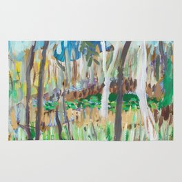 Water Lilies Through the Trees Rug