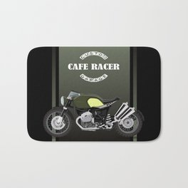 vintage motorcycle poster vector illustration Bath Mat