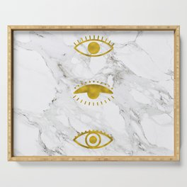 Golden Eyes on Marble Serving Tray
