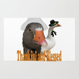 Thankful and Blessed Thanksgiving Pilgrims Rug