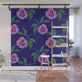 Peony Floral Floating Pattern Wall Mural