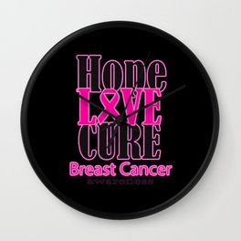 Hope Love Cure Breast Cancer Awareness Wall Clock
