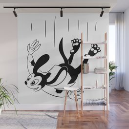 Dog Without A Care Free Falling - Black And White Lowbrow Cartoon Wall Mural
