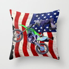 High Flying Freestyle Motocross Rider & US Flag Throw Pillow