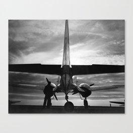 Airplane at sunrise Canvas Print
