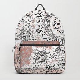Dreamer Mandala White On Rose Gold Backpack