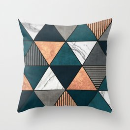 Copper, Marble and Concrete Triangles 2 with Blue Throw Pillow